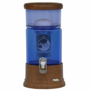 AcalaQuell® Mini Echtholz Eiche rund mit blauem Glas