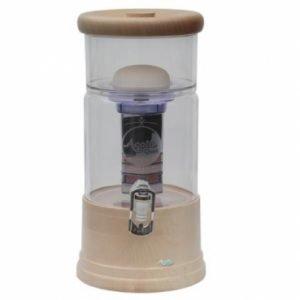 AcalaQuell® Mini Echtholz Ahorn rund mit klarem Glas