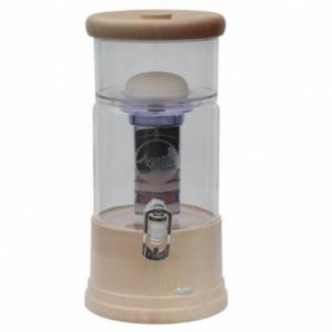 AcalaQuell®-Mini-Echtholz-Ahorn-rund-mit-weissem-Glas